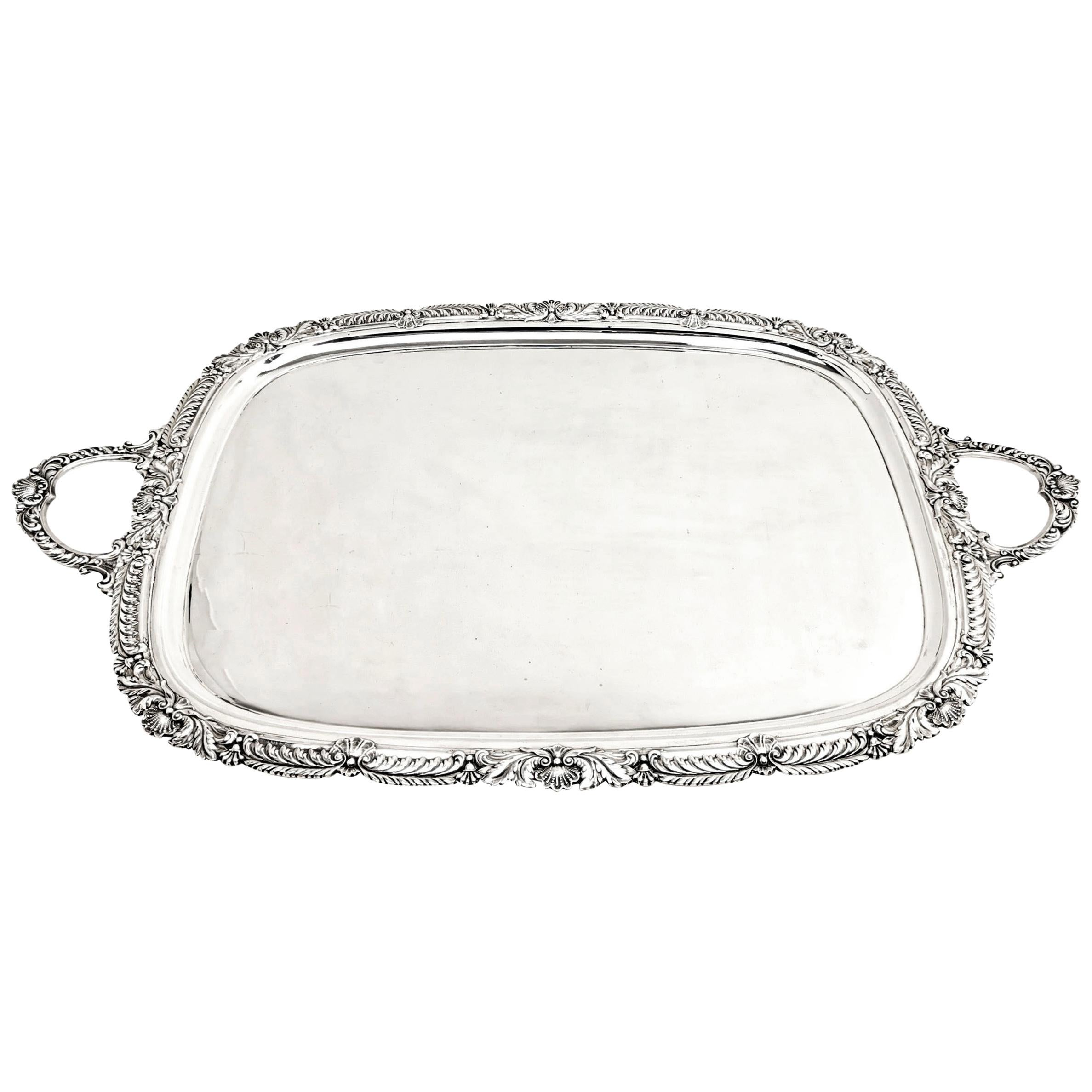 Large Antique Sterling Silver Serving Tray Or Tea Tray 1908 Shell And Gadroon For Sale At 1stdibs