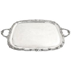 Large Antique Sterling Silver Serving Tray or Tea Tray 1908 Shell and Gadroon