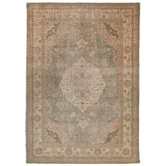Large Antique Sultanabad Persian Rug with Green & White Floral Motif, circa 1930