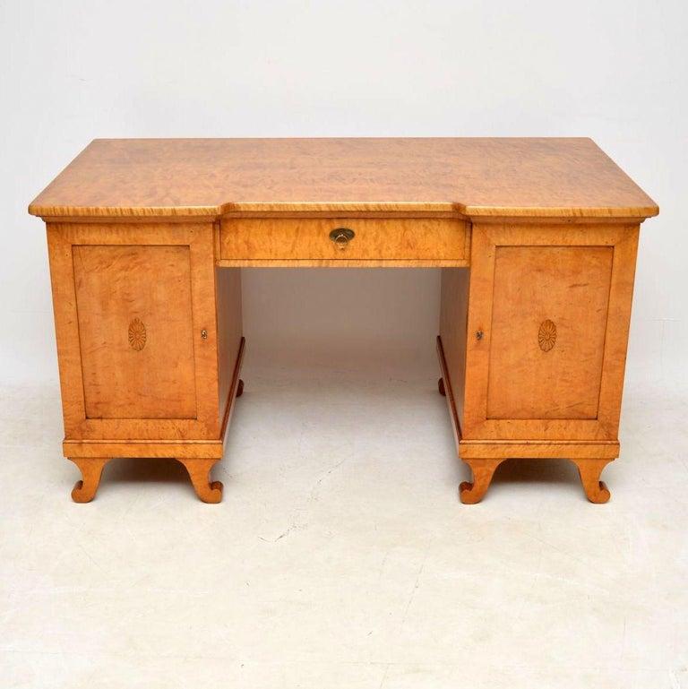 Wondrous Large Antique Swedish Biedermeier Satin Birch Desk Download Free Architecture Designs Scobabritishbridgeorg