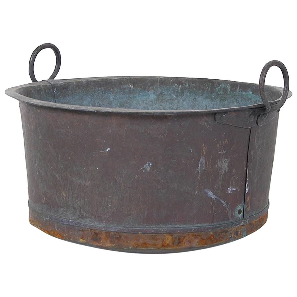 Large Antique Swedish Copper verdigris Wash Tub Pot Cauldron Urn Garden Planter