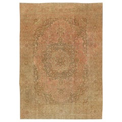 Large Antique Tabriz Carpet in Pink, Light Brown, Camel, Taupe, and Salmon