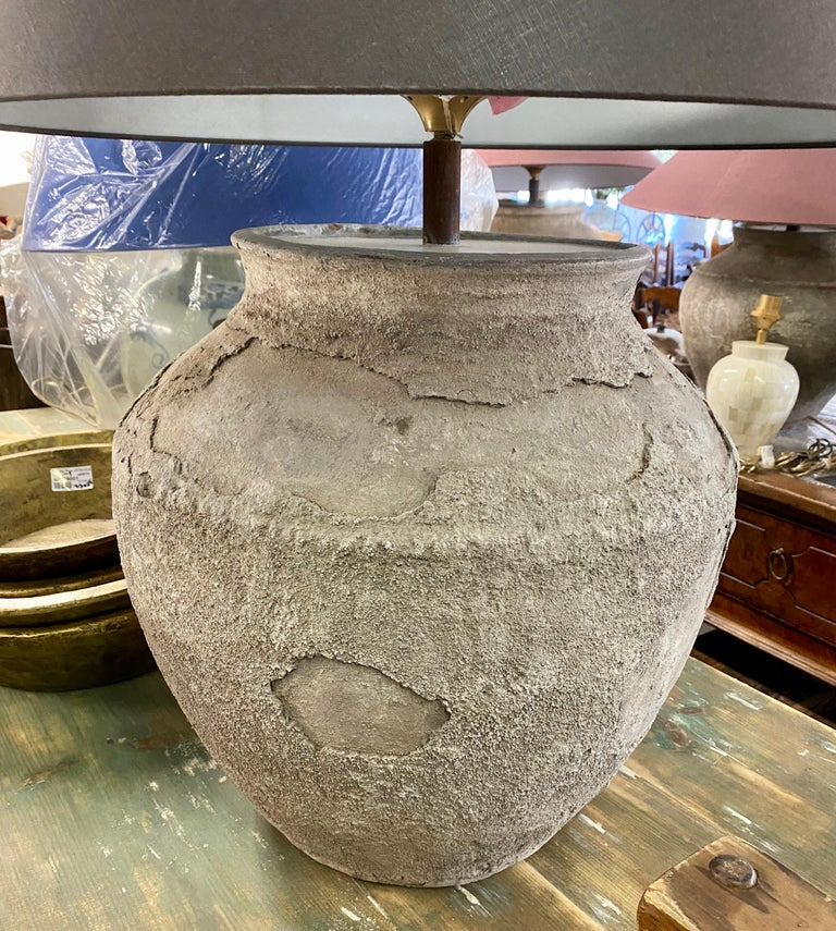 Chinese Large Antique Terracotta Jar Lamp with Shade For Sale