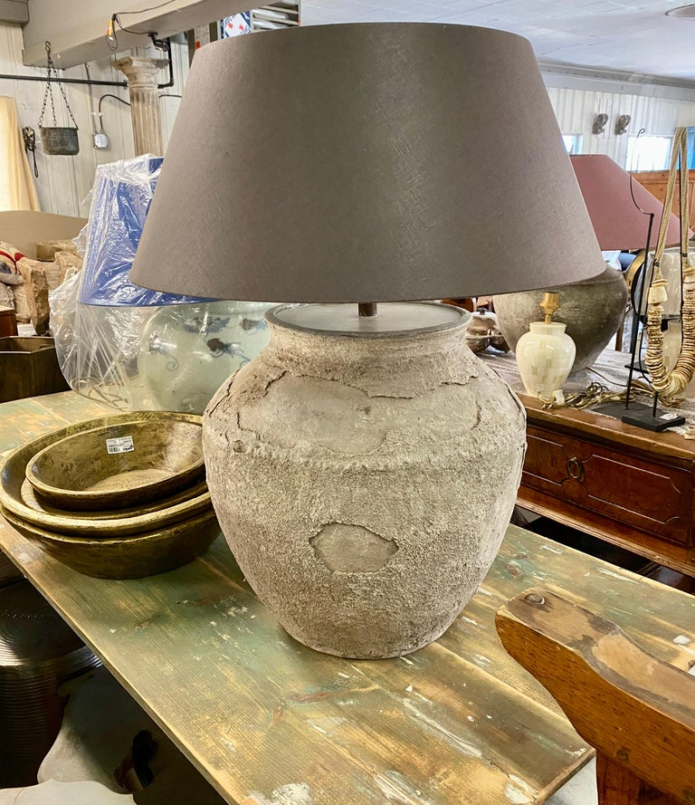 Hand-Crafted Large Antique Terracotta Jar Lamp with Shade For Sale
