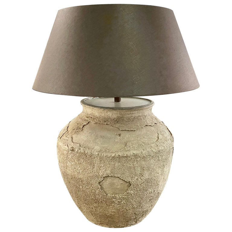 Large Antique Terracotta Jar Lamp with Shade For Sale