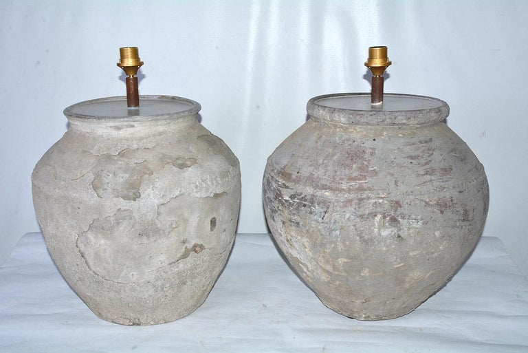 Rustic Large Antique Terracotta Jar Lamp with Shade, Sold Singly For Sale