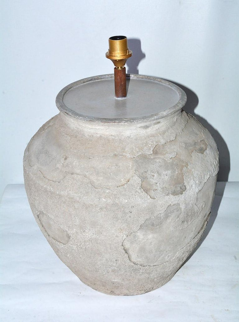 Chinese Large Antique Terracotta Jar Lamp with Shade, Sold Singly For Sale