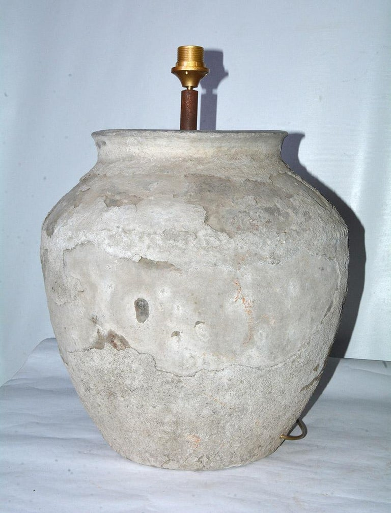Hand-Crafted Large Antique Terracotta Jar Lamp with Shade, Sold Singly For Sale