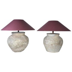 Large Antique Terracotta Jar Lamps with Shades