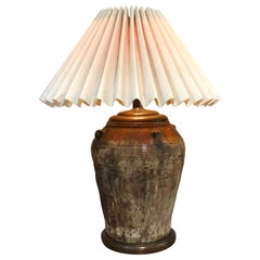 Large Antique Terracotta Oil Jug Table Lamp