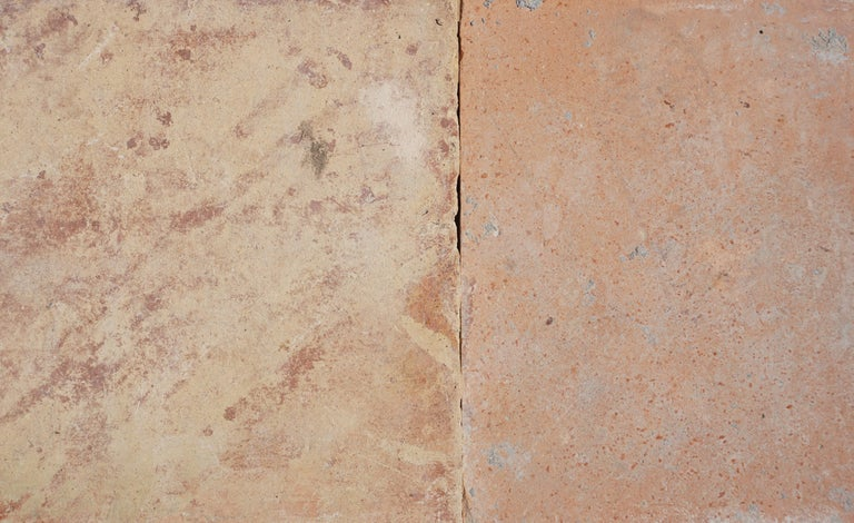 Lot of 250 square feet of antique terracotta square flooring, imported from France. Please note that colors might very after the application of a sealer. Additional pieces available by request.  Measurements: 6