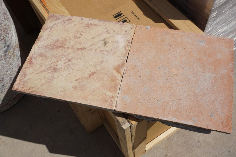 French Large Antique Terracotta Square Flooring For Sale