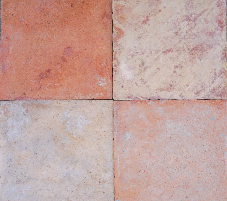 Large Antique Terracotta Square Flooring In Good Condition For Sale In Dallas, TX