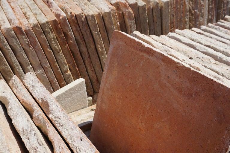 19th Century Large Antique Terracotta Square Flooring For Sale