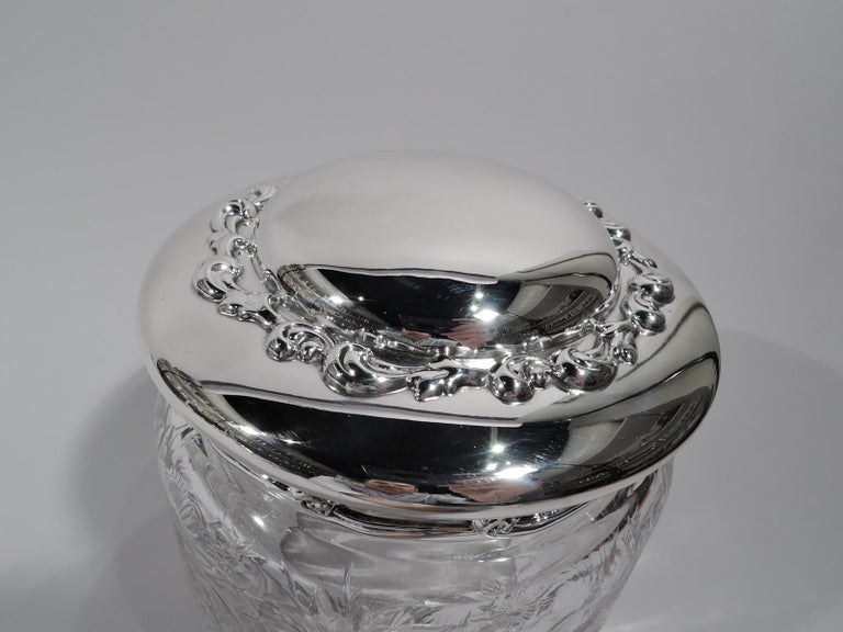 American Large Antique Tiffany Art Nouveau Sterling Silver and Glass Jar