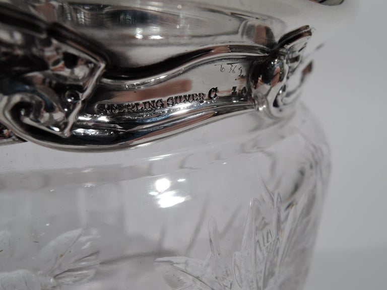 Large Antique Tiffany Art Nouveau Sterling Silver and Glass Jar 3