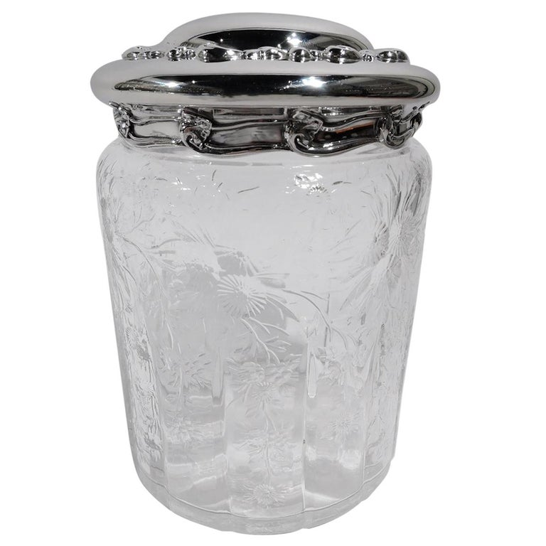 Large Antique Tiffany Art Nouveau Sterling Silver and Glass Jar