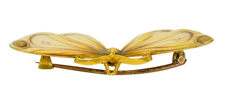 Large Antique Tiffany & Co. Gold Victorian Enamel 18 Karat Gold Butterfly Brooch For Sale 8