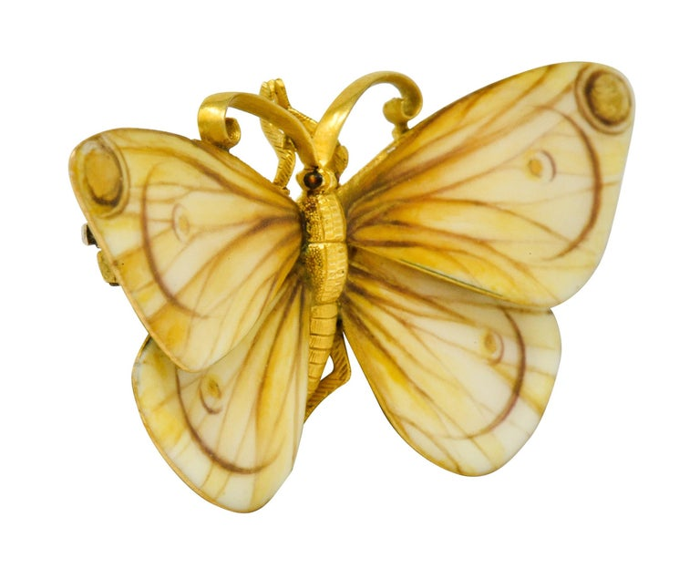 Large Antique Tiffany & Co. Gold Victorian Enamel 18 Karat Gold Butterfly Brooch In Excellent Condition For Sale In Philadelphia, PA