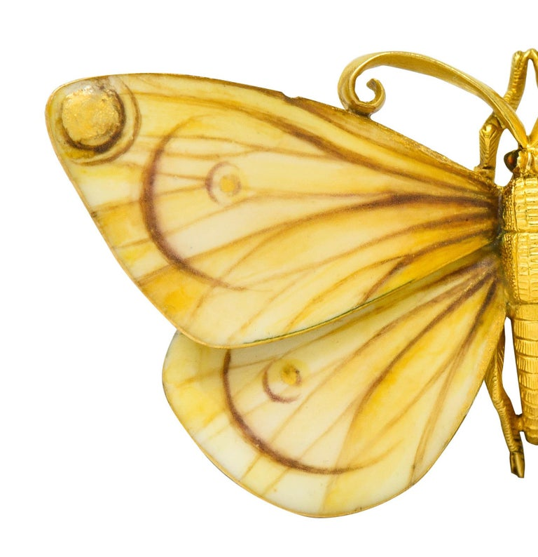 Large Antique Tiffany & Co. Gold Victorian Enamel 18 Karat Gold Butterfly Brooch For Sale 1