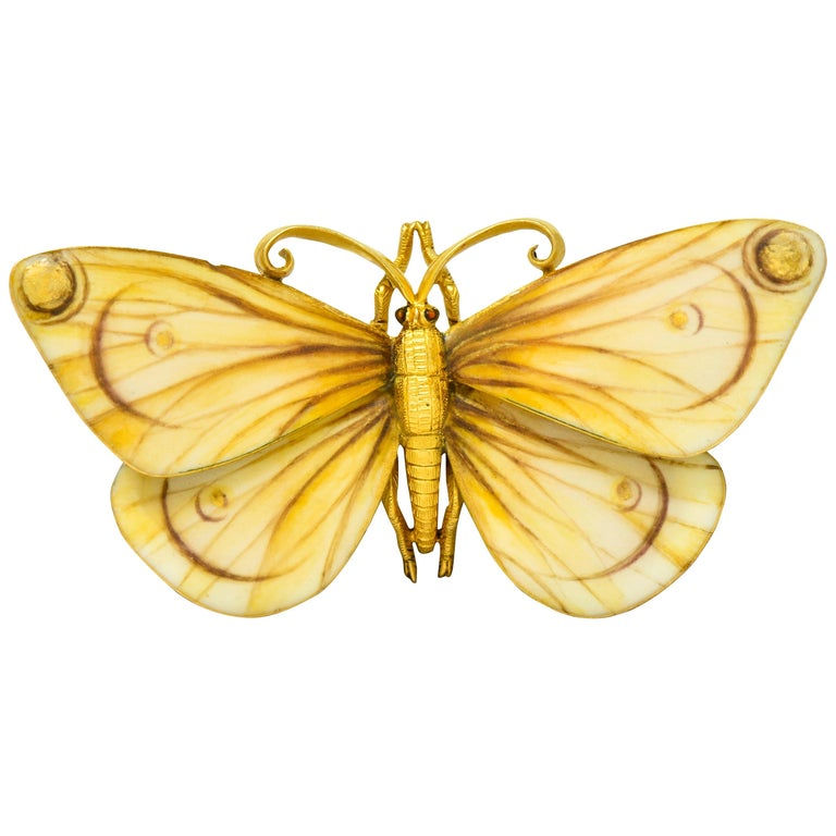 Large Antique Tiffany & Co. Gold Victorian Enamel 18 Karat Gold Butterfly Brooch For Sale