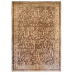 Large Antique Turkish Oushak Floral Brown and Sand Handwoven Wool Rug
