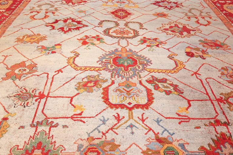 Hand-Knotted Large Antique Turkish Oushak Rug. Size: 14 ft 2 in x 19 ft (4.32 m x 5.79 m) For Sale