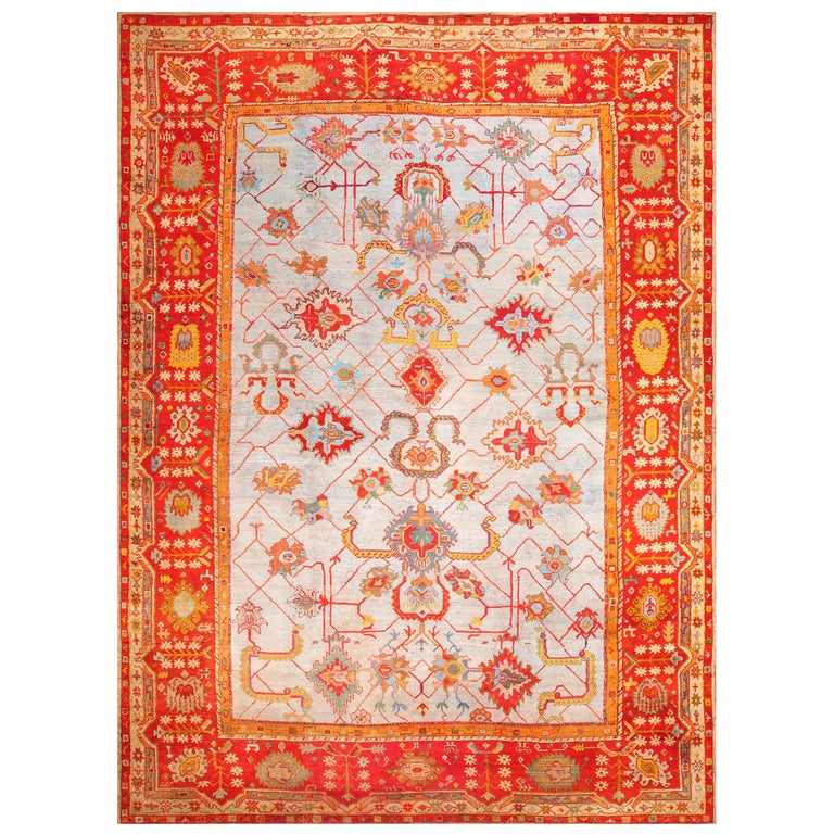 Large Antique Turkish Oushak Rug. Size: 14 ft 2 in x 19 ft (4.32 m x 5.79 m) For Sale