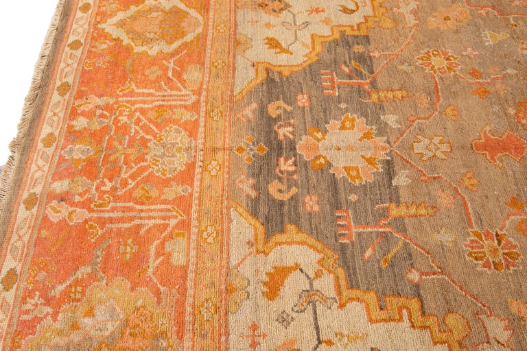 Large Antique Turkish Oushak Wool Rug For Sale 5