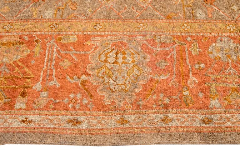 Large Antique Turkish Oushak Wool Rug For Sale 7