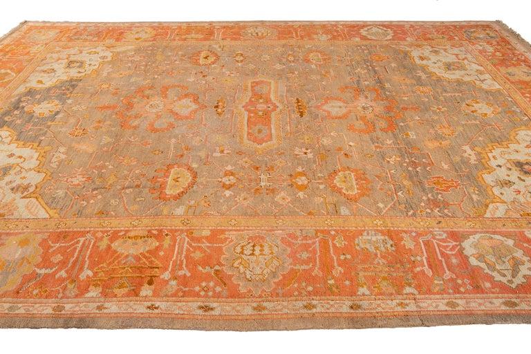 Large Antique Turkish Oushak Wool Rug For Sale 8