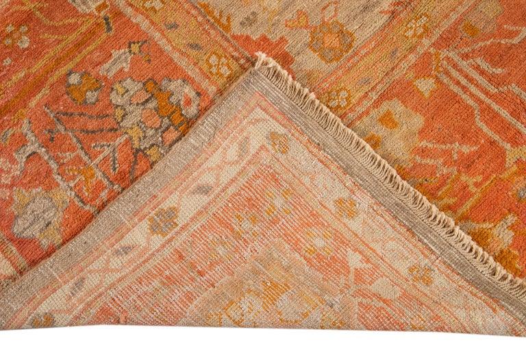 Large Antique Turkish Oushak Wool Rug For Sale 9