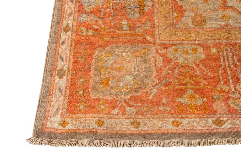 Large Antique Turkish Oushak Wool Rug For Sale 10