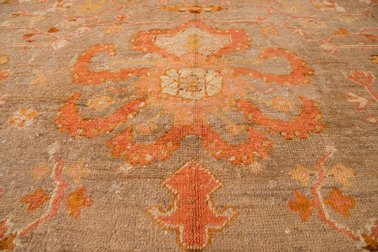 Large Antique Turkish Oushak Wool Rug For Sale 11
