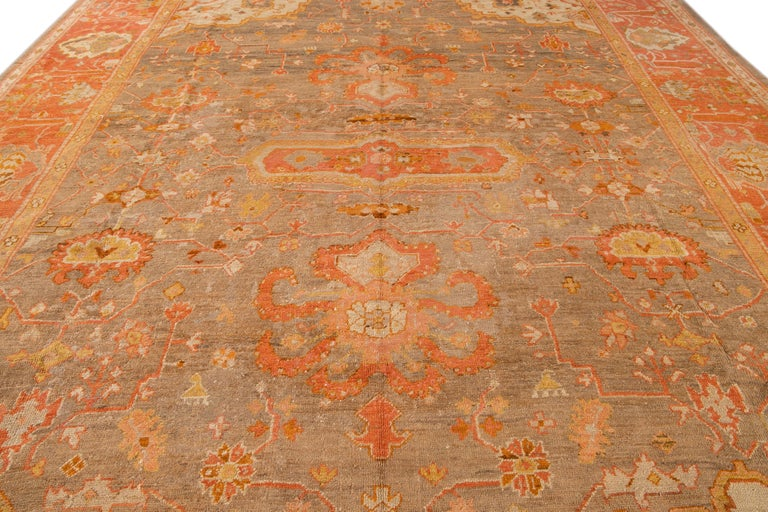 Hand-Knotted Large Antique Turkish Oushak Wool Rug For Sale