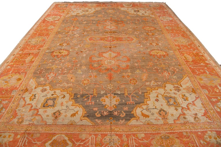Large Antique Turkish Oushak Wool Rug In Good Condition For Sale In Norwalk, CT