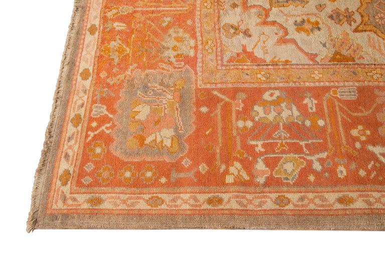 Large Antique Turkish Oushak Wool Rug For Sale 1