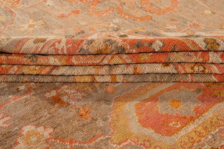 Large Antique Turkish Oushak Wool Rug For Sale 2