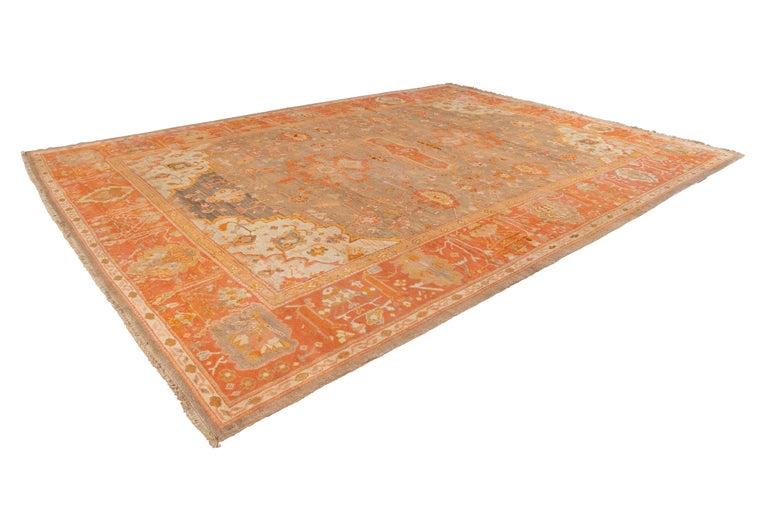 Large Antique Turkish Oushak Wool Rug For Sale 3