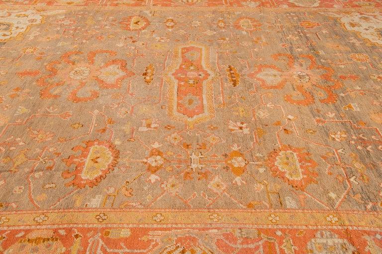 Large Antique Turkish Oushak Wool Rug For Sale 4