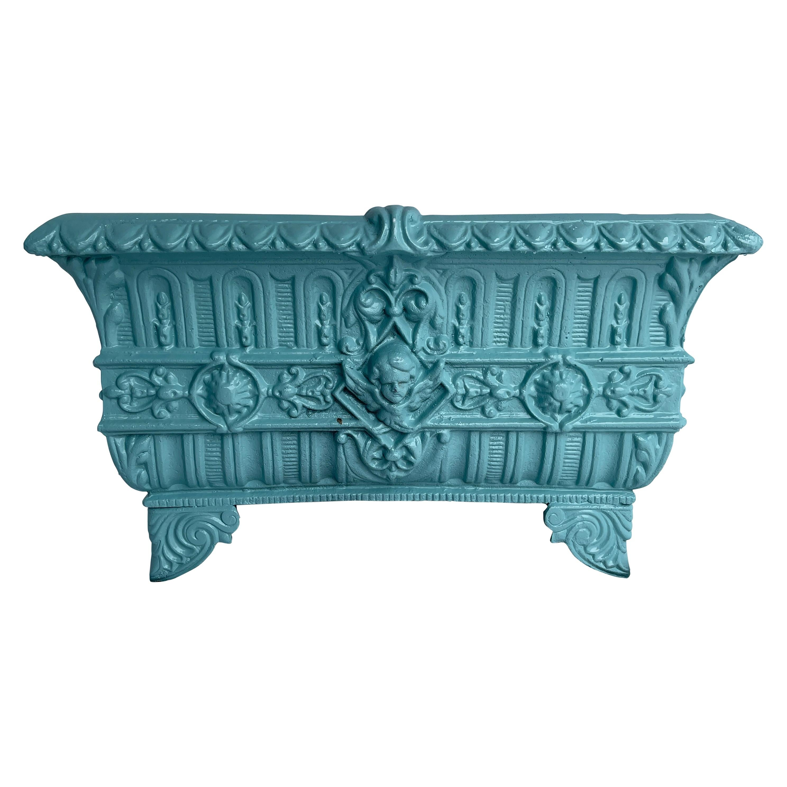 Large Antique Turquoise Cast Iron Footed Planter, Circa Early 1900's