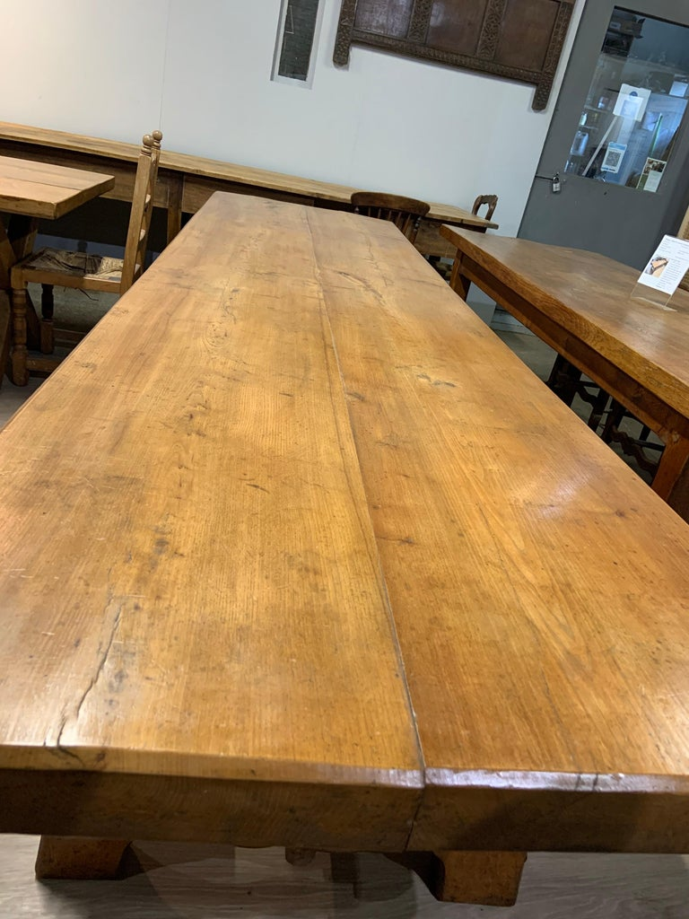 Country Large Antique Twin Plank Alpine Trestle Table For Sale