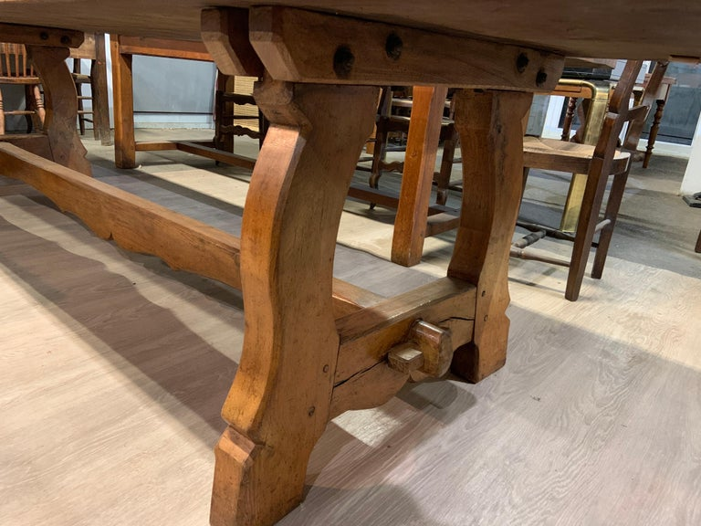 French Large Antique Twin Plank Alpine Trestle Table For Sale