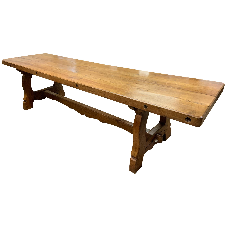 Large Antique Twin Plank Alpine Trestle Table