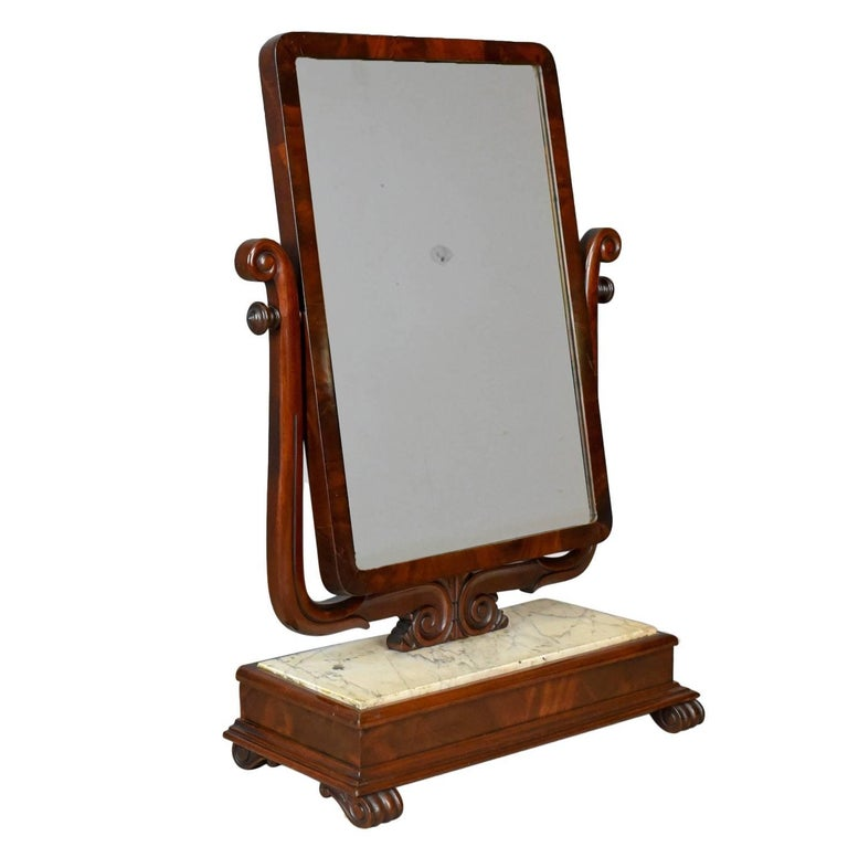 Large Antique Vanity Mirror, English, Victorian Marble, circa 1850