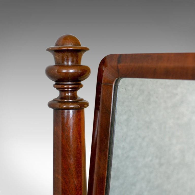 Mahogany Large Antique Vanity Mirror English, Regency, Toilet, Swing, Platform circa 1830 For Sale