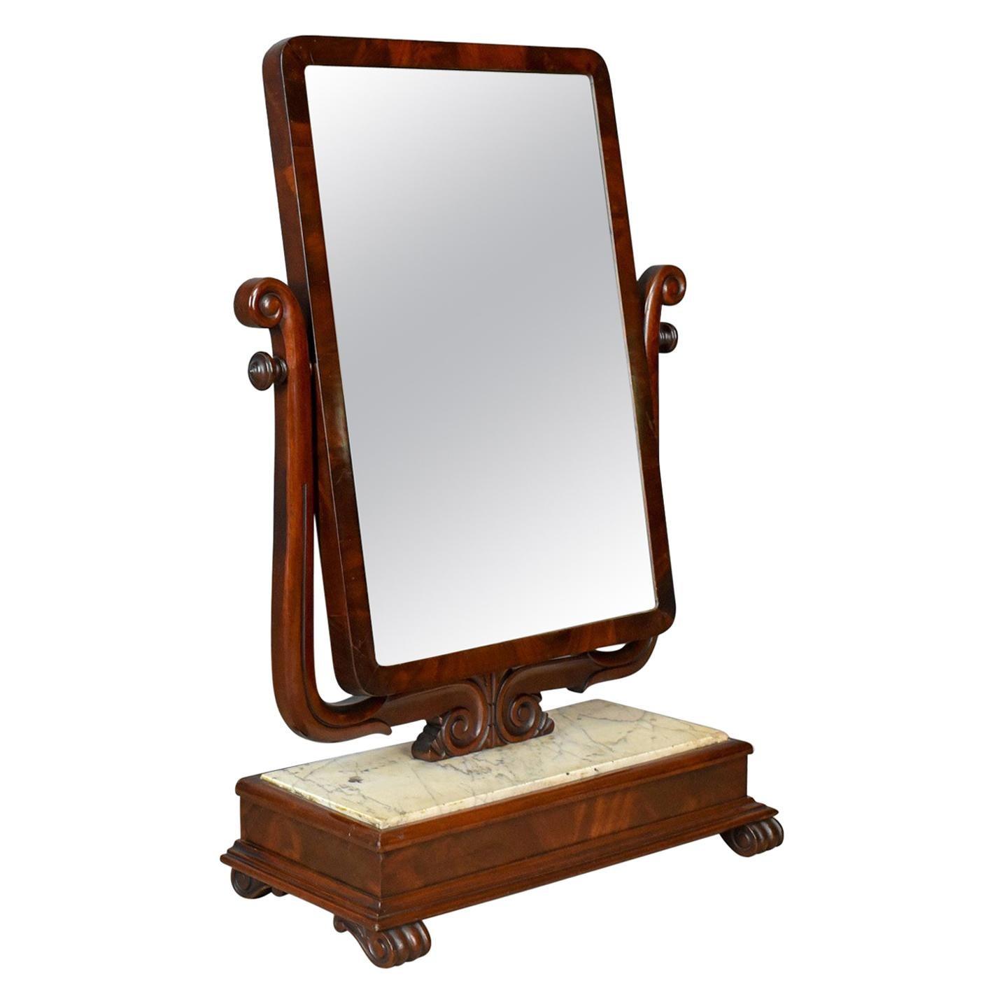 Large Antique Vanity Mirror, English, Victorian Marble, circa 1850