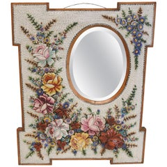 Large Antique Venetian Micromosaic Hanging Wall Mirror, Floral Designs