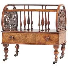 Large Antique Victorian Burr Walnut Canterbury