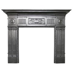 Large Antique Victorian Cast Iron Fireplace Surround